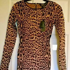 BCBGMaxazria Leopard Cocktail Dress XXS NEW